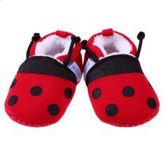 newest collection 783ee c220b Lindos zapatos de bebé de invierno suave de algodón de dibujos animados  mariquita abeja niños niñas