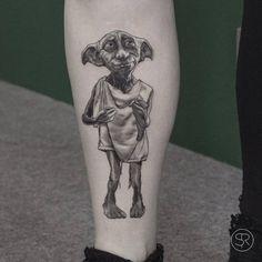 Dobby the house elf tattoo on Kimberly. Tattoo artist: Sven...