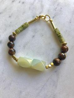 Amazonite and Tiger's Eye Beaded Gold Bracelet Boho Chic Jewel by TheHauteBohemian on Etsy