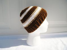 Mens Crochet Hat in Brown Tan and White 99 by CraftyColors on Etsy