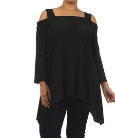 Look what I found on #zulily! Black Cutout Sidetail Tunic - Plus by Come N See #zulilyfinds