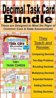 These 140+ task cards are unique because they TEACH and REVIEW decimal topics.  Questions are posed at different complexity levels to promote thorough understanding of topics.  Independent review cards, step-by-step diagrams, examples, illustrations, and more are included to help students understand a variety of decimal topics.  Printable boxes, student recording forms, and answer keys are included.  The document makes math review and Common Core preparation much easier.