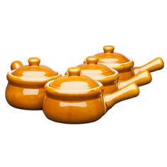 HIC Ceramic Onion-Soup Crock with Lid, Set of 4