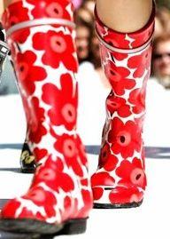 marimekko rubberboots Shoes Boots Ankle, Sock Shoes, Ankle Booties, Rain Boots, Marimekko, Feminine Style, Scandinavian Design, Textile Design, Passion For Fashion