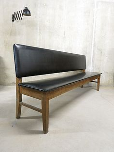 vintage sofa bench danish industrial, vintage bank industrieel wachtkamer bank eetkamertafel bank brocante