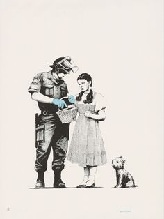 """""""Stop and Search"""", a Banksy print featuring The Wizard of Oz's Dorothy getting searched by the police."""