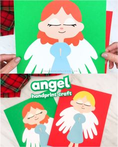 If youre searching for a cute and easy Christian craft for Christmas, this angel handprint craft is the one! Kindergarten Christmas Crafts, Christmas Handprint Crafts, Santa Crafts, Handprint Art, Christmas Crafts For Kids, Christmas Activities, Xmas Crafts, Christmas Angels, Christmas Games
