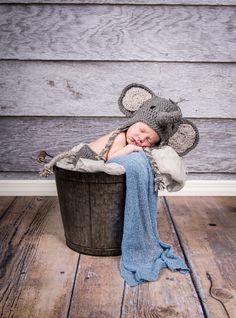 Newborn Photography with crochet elephant hat