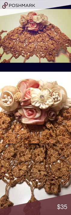 Beautiful vintage lace broach Gorgeous vintage lace broach. Burnt rust color. Silk flowers. Rhinestone detail. Beautiful addition to a dress, jacket, scarf, purse, or many other items! Accessories