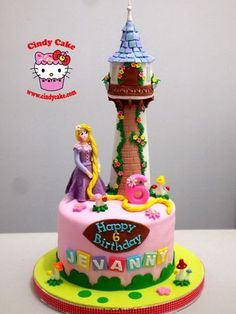Happy birthday cake for your baby doll. Bolo Rapunzel, Rapunzel Birthday Cake, 3rd Birthday Cakes, Princess Rapunzel, Happy Birthday, Fondant Cakes, Cupcake Cakes, Princess Theme Cake, Jasmine Cake