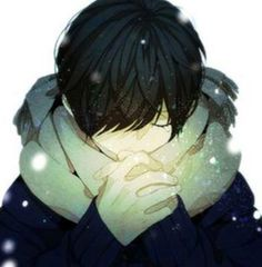 anime boy- don't you see? he's using his magic to warm his hands because he doesn't have gloves