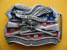 The Right To Bear Arms 2nd Amendement US USA Guns Pewter Belt Belts Buckle Buckles