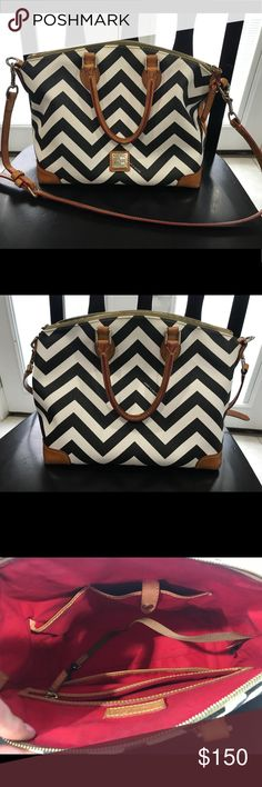 🔥 Dooney And Bourke Purse 🔥 Like brand new! I got this as a birthday gift in August and I LOVE it, I just prefer a crossbody. Dark grey and white chevron leather with gold hardware.  Very lightly used. No rips, stains, or cracking. I am NOT wanting to trade this so please don't ask. I AM open to REASONABLE offers. Ships next business day! 💗💗💗 Dooney & Bourke Bags