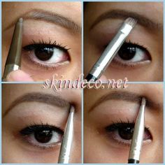Start by outlining the eyebrow first with an eyebrow pencil. Then, fill in the middle area of the brow up to the end with a similar colour eyeshadow. Without refiling the brush, fill in the inner area to the middle. You'll get perfect brows everytime. All Things Beauty, Beauty Make Up, Diy Beauty, Beauty Hacks, Beauty Ideas, Best Eyebrow Brush, Best Eyebrow Products, Tweezing Eyebrows, Threading Eyebrows