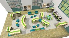 School library with ITC desks and PCs - design visualisation
