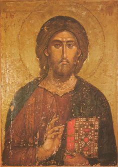 A lacquered icon of Christ the Pantocrator on wood. Jesus holds the Gospel in a precious cover in his left hand and blesses the faithful with his right hand Byzantine Icons, Byzantine Art, Religious Icons, Religious Art, Christus Pantokrator, Orthodox Christianity, Art Icon, Orthodox Icons, Medieval Art