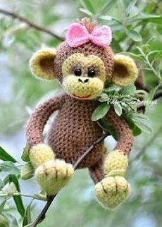 Вязаная обезьянка. Ма-а-а-ленькая. Крючком. / Обсуждение на LiveInternet - Российский Сервис Онлайн-Дневников