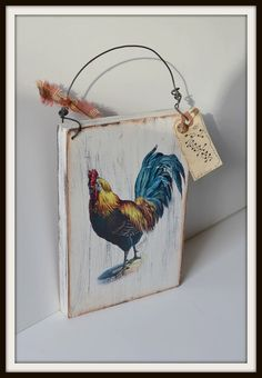 Primitive Rooster wooden vintage farmhouse by PrimitivePrairie, $9.99
