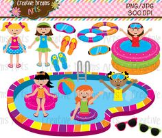 BUY 2 GET 1 FREE Girls Pools Party Digital by CreativeDreamsArts, $4.00