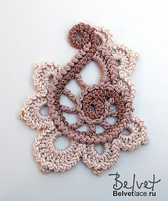 Ravelry: Flower from Bolero Cappuccino 2 pattern by Victoria Belvet Irish Crochet Lab is a detailed online course of how to make Irish Crochet Lace. Irish Crochet Pattern from Belvet: WANT! Black, Grey and Pink please :D This is so pretty I am now being o Art Au Crochet, Crochet Paisley, Beau Crochet, Irish Crochet Patterns, Crochet Motifs, Freeform Crochet, Thread Crochet, Crochet Designs, Crochet Crafts