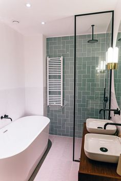 Design and production of a dream bathroom on the Bilderdijkkade in Amsterdam. We mixed vintage and modern elements to create a contemporary bathroom with unique pieces. Using a second-hand cabinet and vintage Glashütte Limburg lights with black faucets, a Contemporary Bathroom Designs, Bathroom Design Small, Bathroom Interior Design, Modern Bathroom, Master Bathroom, Bath Design, Modern Design, Bathroom Vintage, Contemporary Design