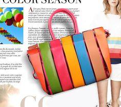 $79.99 USD  [grlhx120055]Unique Rainbow Leather Handbag Shoulderr Bag  Unique and Cool Deisgn.