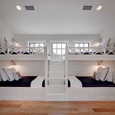 The Chic Technique: Bunk Room. White bunk bed with navy bedding. bunk room features two sets of white built-in bunk beds dressed in navy bedding lined with distressed shiplap flanked by a built-in staircase. Old Seagrove Homes. Home, Bedroom Design, House Design, Dream Rooms, House Interior, Beach House Design, Luxury Homes, Bunk Beds Built In, Luxury Interior Design