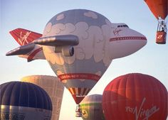 airplane hot air balloon