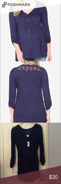 Motherhood Maternity Lace Paneled Top From web: Add instant polish to your casual look with Motherhood Maternity's lace paneled top. Rayon / spandex. V-neckline. Pullover style with button closure, 3/4 length sleeves. Hits at hips, ties at waist. Motherhood Maternity Tops Button Down Shirts