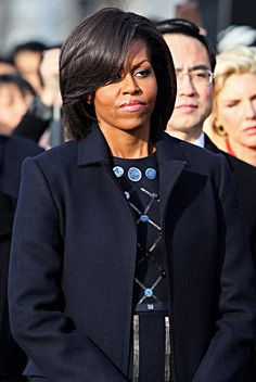 Michelle Obama awaiting Chinese President Hu at the White House in Washington, D.C.