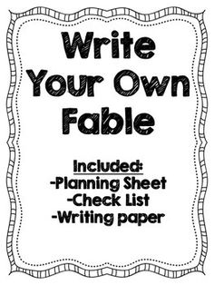 a fable writing graphic organizer to help primary students