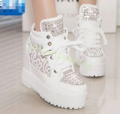 Womens Retro Rhinestones Mesh Sneakers Lace Wedge Heel Sports Shoes Athletic US