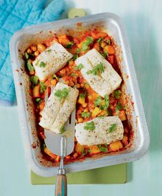 Let the oven do the work – this simple one-tray roast spiced cod with chana masala recipe will be ready in around 40 minutes.