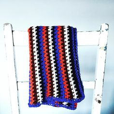 Ooo #baby #baby  #crochet #cot #blanket in #blue  #white  #orange with a #retro vibe  #handmade in #Manchester  100% #cotton  Find in the @etsy shop  link in bio #nursery #crochetblanket #babyblanket #nursery #babiesroom #newarrival #newbaby #bubba #babygift #babyshower #newborn by thealleyalleyoh