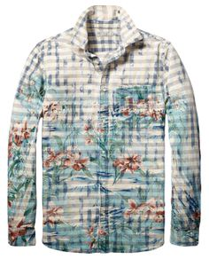 Geruit shirt met bloemenprint | Shirt l/s | Herenkleding bij Scotch & Soda
