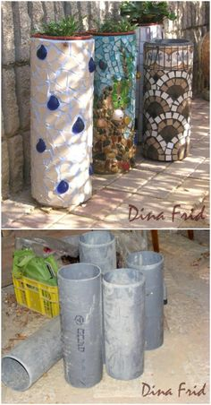 30 Gorgeous Mosaic Projects To Beautify Your Home And Garden Upcycled PVC Pipe Flower Holder Mosaic Planters, Mosaic Garden Art, Mosaic Flower Pots, Cement Flower Pots, Mosaic Crafts, Mosaic Projects, Garden Crafts, Garden Projects, Garden Ideas