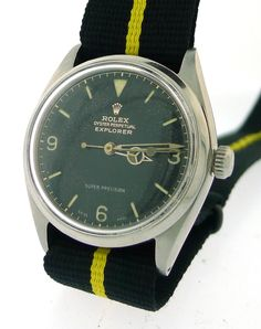 ROLEX Vintage Explorer I Watch Black Dial 33mm on Nato Strap Ref. 5500 From 1952 | eBay