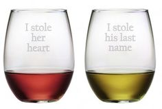 I Stole Her Heart, I Stole His Last Name Perfect gift for his and hers.  Makes a lovely wedding gift.