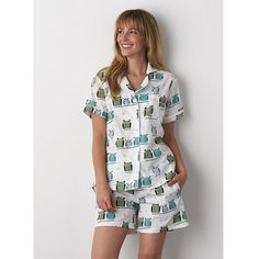 Soft cotton poplin pajamas for women designed with artistically rendered owls. 2-pc set includes pajama shorts set & short-sleeve top.