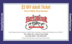 #Coupon - Happy Hooker, Talbot St Pier, Ocean City MD $2 OFF Adult Ticket... #oceancitycool