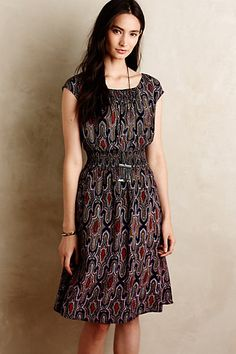 I like the structure of this dress. There is another, funner pattern available, but I do like this style. And it would be great if it pared well with a sweater.  Evaline Dress #anthropologie