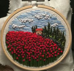 Ribbon Embroidery Flowers by Hand – Embroidery Patterns - Stickerei Ideen Crewel Embroidery Kits, Learn Embroidery, Silk Ribbon Embroidery, Hand Embroidery Patterns, Cross Stitch Embroidery, Embroidery Thread, Embroidery Supplies, French Knot Embroidery, Cross Stitching