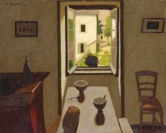 Table with Two Bowls & Bread, by Marius Borgeaud (Swiss Painter), 1922