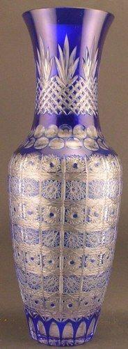 Huge Cobalt Blue Cut to Clear Bohemian Glass Crystal Vase | eBay