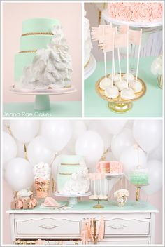Fresh & Feminine Cake Table. I love these color combinations.