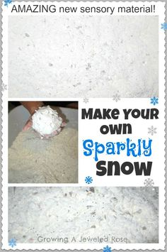 Make Your Own Sparkly Snow- Sparkle snow is so fun! It is cold, super fluffy, mold-able, and SO SOFT! Two 16 oz boxes of corn starch One can of shaving cream Peppermint Extract (optional) Buffalo Snow Iridescent Flakes - Sensory Activities, Winter Activities, Sensory Play, Activities For Kids, Crafts For Kids, Sensory Bins, Sensory Table, Preschool Ideas, Teaching Ideas