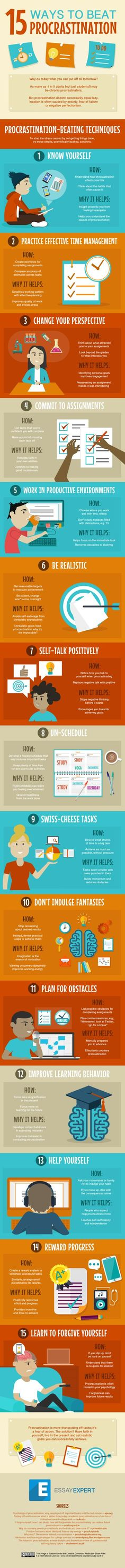 Gerald likes: Practical tips on avoiding procrastination. Wondering about the idea of small punishments for not getting things done! :: 15 Ways to Overcome Procrastination and Get Stuff Done (Infographic) E Learning, Learning Quotes, Blended Learning, Lerntyp Test, How To Stop Procrastinating, Study Skills, College Hacks, College Life, Ra College