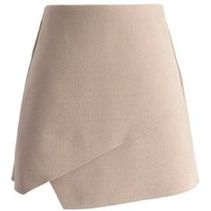 Chicwish Pretty Asymmetric Flap Skirt in Nude Pink