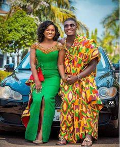African Wear, African Attire, African Fashion Dresses, African Wedding Attire, African Weddings, African Lace Styles, Kente Dress, Traditional Wedding Attire, Kente Styles