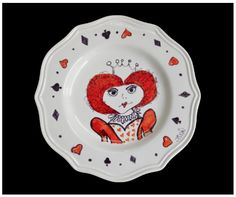 Queen of Hearts Plate Drawn with Sharpie & Baked.